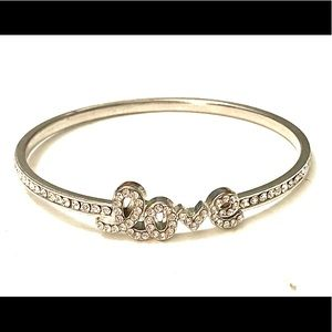 LOVE Rhinestone Bracelet Silver